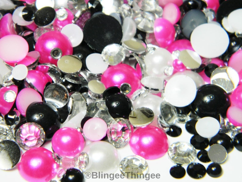 30 GRAMS White Black Hot Pink Half Round Faux Flatback Pearls Mixed Sizes  Clear Black Resin Rhinestones G7