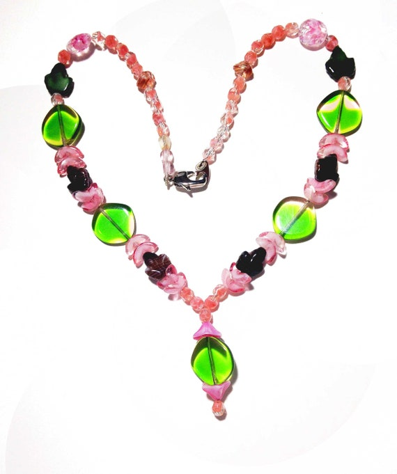 summer jewelry pink and green czech glass seed beads Green porcelain statement bead with pink and blue flowers Handmade beaded Necklace
