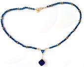Sapphire  Blue Swarovski round Beadednecklace, gold spacers, Deep Blue Swarovski Crystal charms, any occasion Gift for her, adjustable clasp