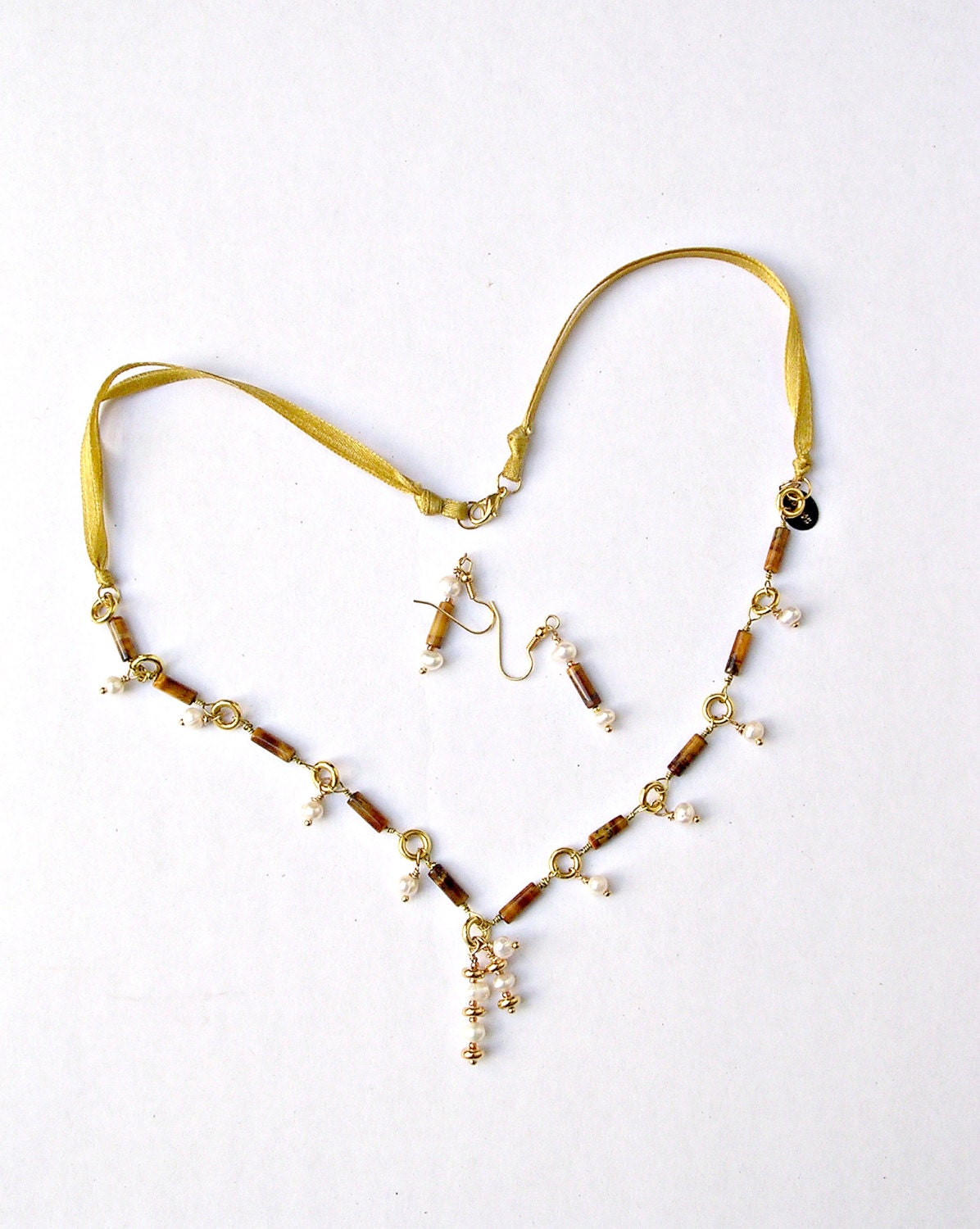 Boho Necklace with Freshwater Pearls with Chain and Pendant Charms