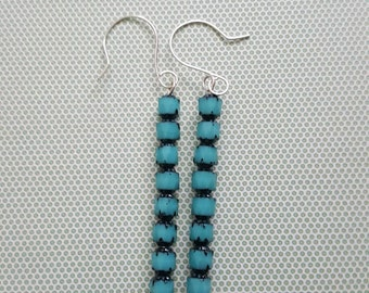 Turquoise Cathedral Bead stick earrings handmade ear wires