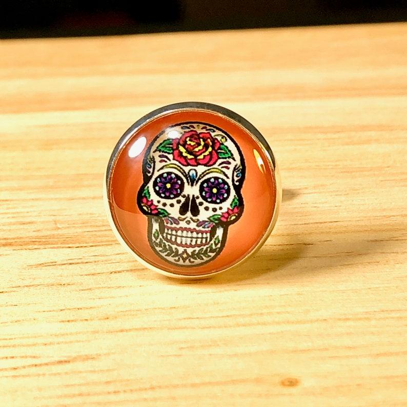 Cuff links Day of the Dead Skull cufflinks accessories Mens jewelry Skeleton cufflinks French cuff In Orange El D\u00eda de los Muertos GIFT BOX