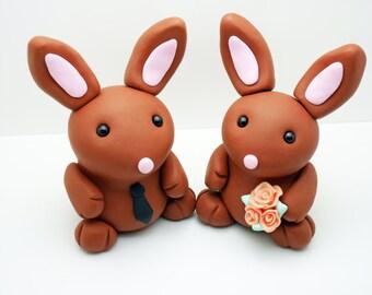 Bunny couple wedding cake toppers