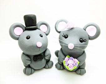 Décorations de gâteau de mariage pour le couple souris