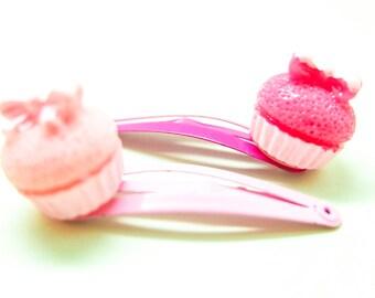 2x  cupcake muffin hair clips
