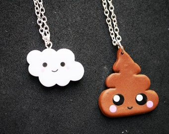 Kawaii cloud or poop necklace