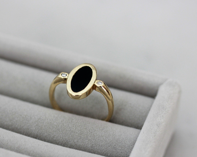 Details about  /Adorable Dark Pink Onyx Oval Shape Gemstone 10k White Gold Wedding Ring