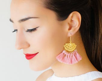 Pink Tassel Earrings Tassel Jewelry Chandelier Earrings Statement Jewelry Gold Earrings Boho Earrings Bohemian Jewelry/ TASHIA