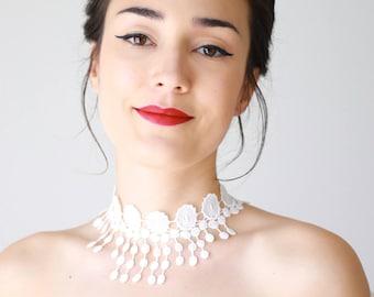 Lace Choker Lace Fringe Choker White Lace Choker White Necklace Lace Necklace Bridal Necklace Bridal Choker Bridal Jewelry Wedding  / NERI