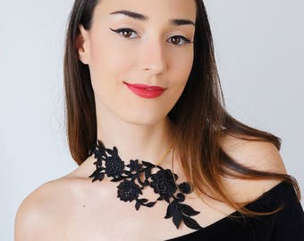 Mother Gift Vintage Gift Statement Necklace Black Necklace Lace Necklace Anniversary Gifts For Bride Girlfriend Gift For HerCustom/ LASATA
