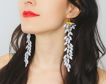 Statement Jewelry Lace Earrings Long Earrings Boho Jewelry Boho Earrings Girlfriend Gift Mom Gift Bridesmaid Gift Inspirational/ GALEO