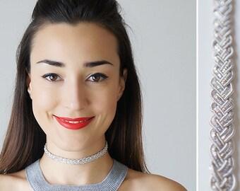 Silver Choker Beaded Choker Gray Choker Silver Necklace Braid Choker Girlfriend Gift for Sister Daughter Gift/ BRAIDE