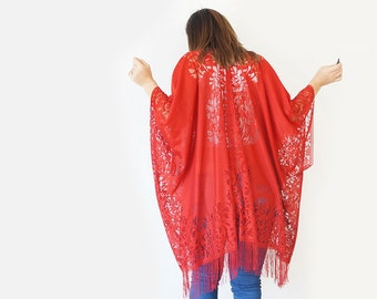 Girlfriend Gift Gift For Women Red Accessory Red Lace Kimono Red Robe/ KIMONO