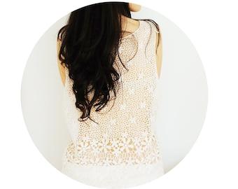 Nalinia // Handmade Ivory Lace Blouse - Floral Bride Bridal Wedding Shawl Venise Lace