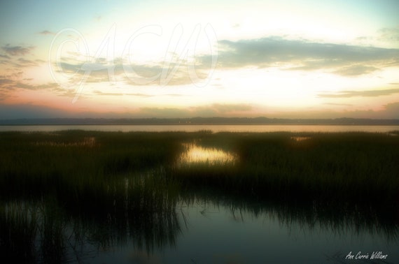 Beaufort Harbor in South Carolina at dawn with a colorful sunrise on the horizon (PR) (canvas)