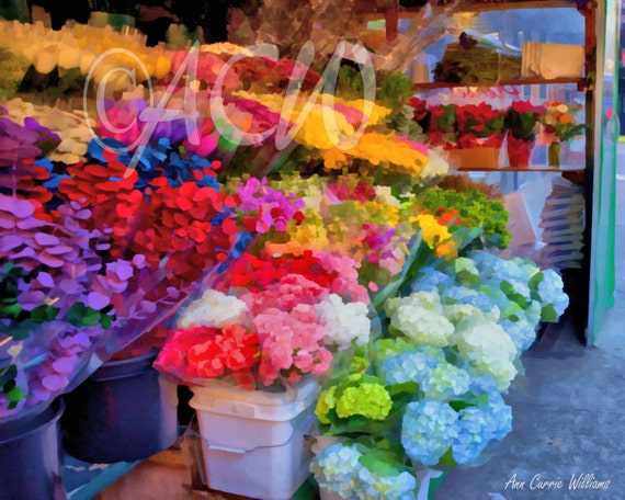 Flower Stand in Soho, New York City (16 x 20 canvas)