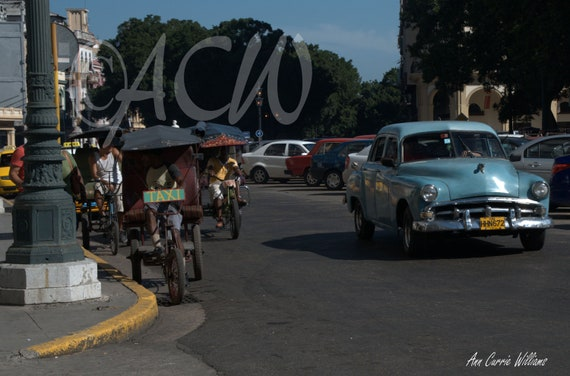 Cars and Taxis in Havana, Cuba (PR)  (canvas)