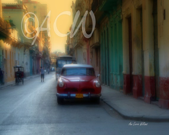 Red Car in Havana, Cuba (canvas)