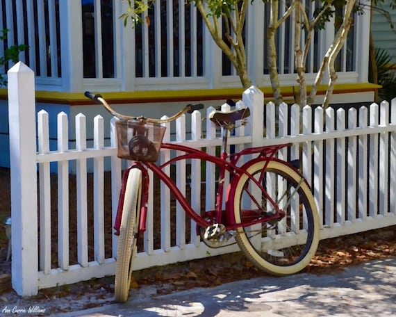 Bicycle leaning on a fence  in Seaside, Florida (12 x16 canvas)