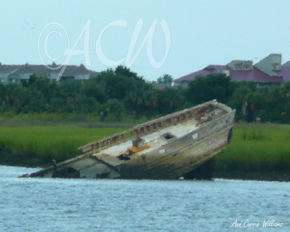 Wreck off Folly  Island South Carolina (canvas)
