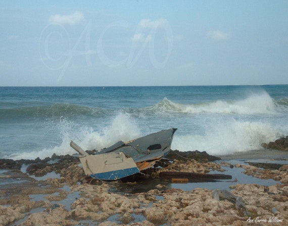 Wrecked boat in the Surf, Cayman Islands (PR)