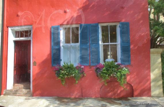 Salmon colored house in Charleston South Carolina (canvas)