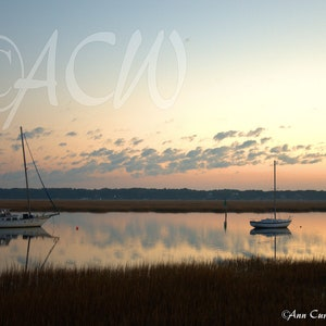 Beaufort Harbor in South Carolina at dawn with a colorful sunrise on the horizon PR canvas