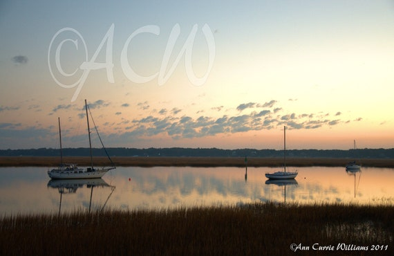 Boats Moored in Beaufort Harbor at Dawn, South Carolina (PR) (canvas)