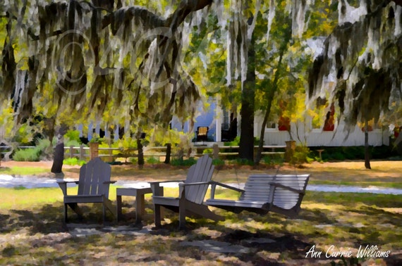 A relaxing spot under the oak trees. (canvas)