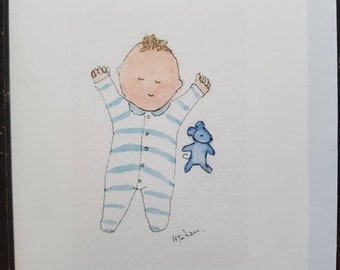 Handmade and printed from an original watercolour Blank inside for your own special message. Baby shower card baby scales