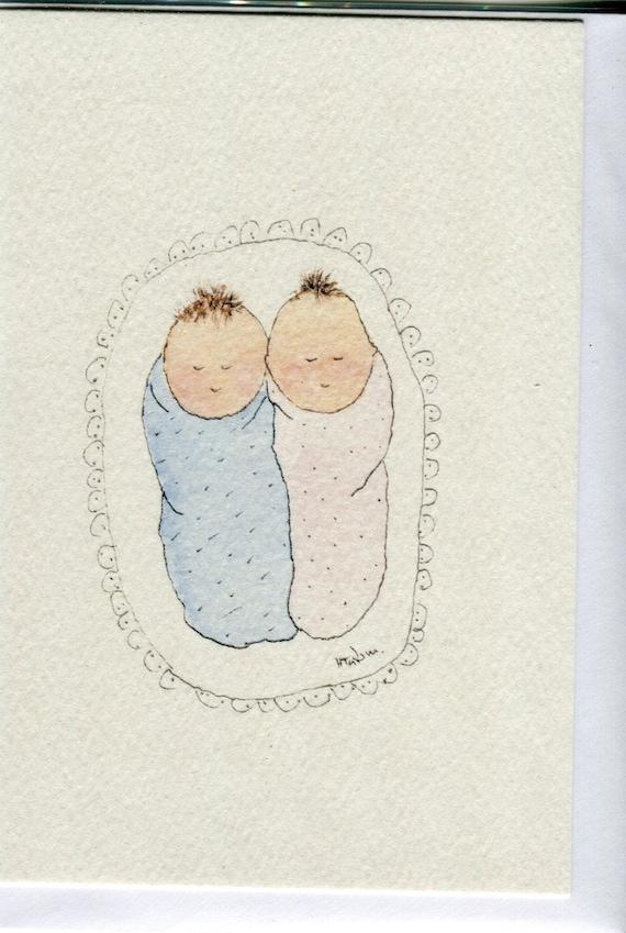 День сладостей, двойни малыши открытка рисунок
