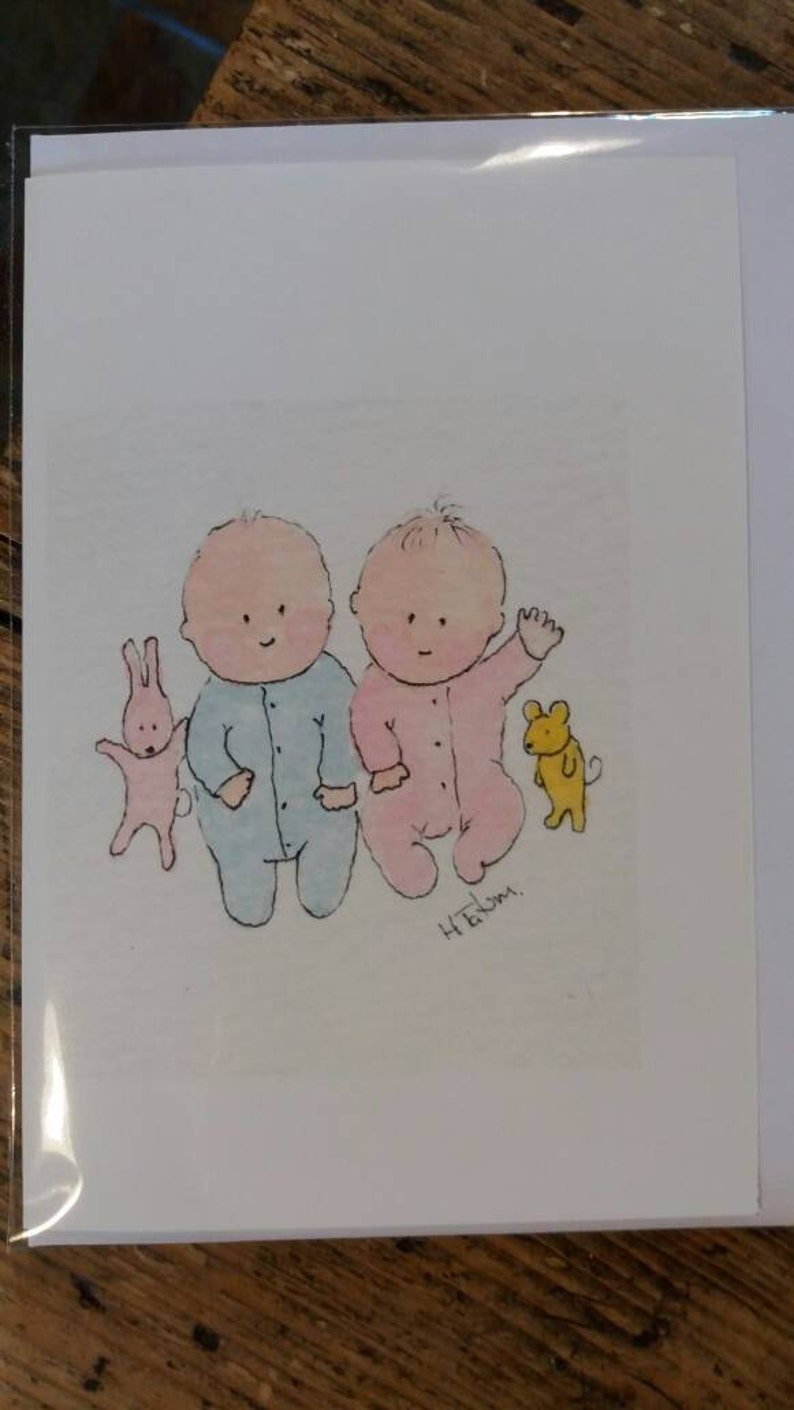 No 178 Twin baby card fraternal twins card newborn twins card multiple  birth card twin baby shower card cards for twin boy and girl handmade