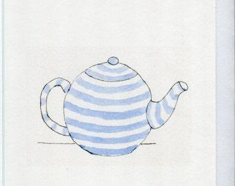 No 155  Blue and white striped tea pot card tea pot card greetings card watercolour cards birthday blank card handmade card blue and white