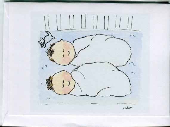 twin shower cards twin baby boy card handmade card watercolour card twin baby shower newborn twins No 17 Twin baby cards newborn twin cards