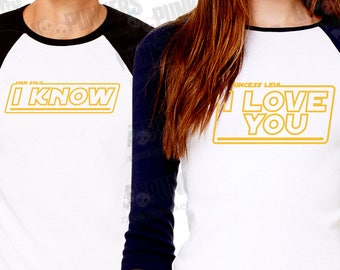 """Matching """"I Love You... I Know"""" The Empire Strikes Back Movie Quote matching 3/4 Black sleeve raglan shirt Set"""