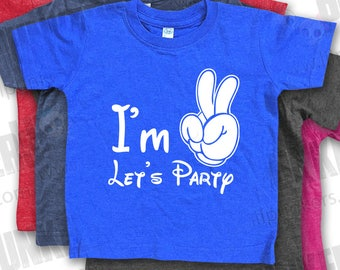 "I'm Two Let's Party ""Mouse Hand"" Birthday Vintage Heather Shirt, 2nd Birthday Shirt"