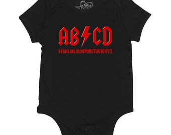 ABCD Baby Vest Grow Rock Music Metal ACDC Parody Heavy Birthday Boys Girls