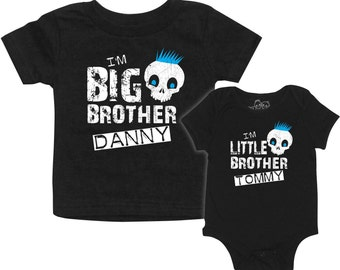b4a0c8c93 Personalized matching Boys Skull Big Brother t-shirt, Little Brother  bodysuit or t-shirt set