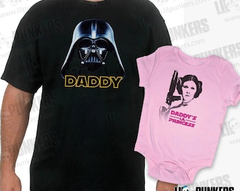 "Father - Daughter ""Daddy - Daddy's Lil Princess"" Darth Vader / Princess Leia T-shirt Set"