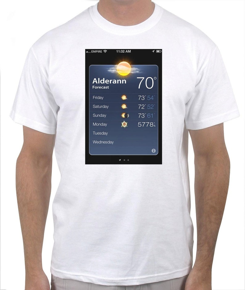 47a2eb64 Alderaan Weather Forecast Funny T-Shirt | Etsy