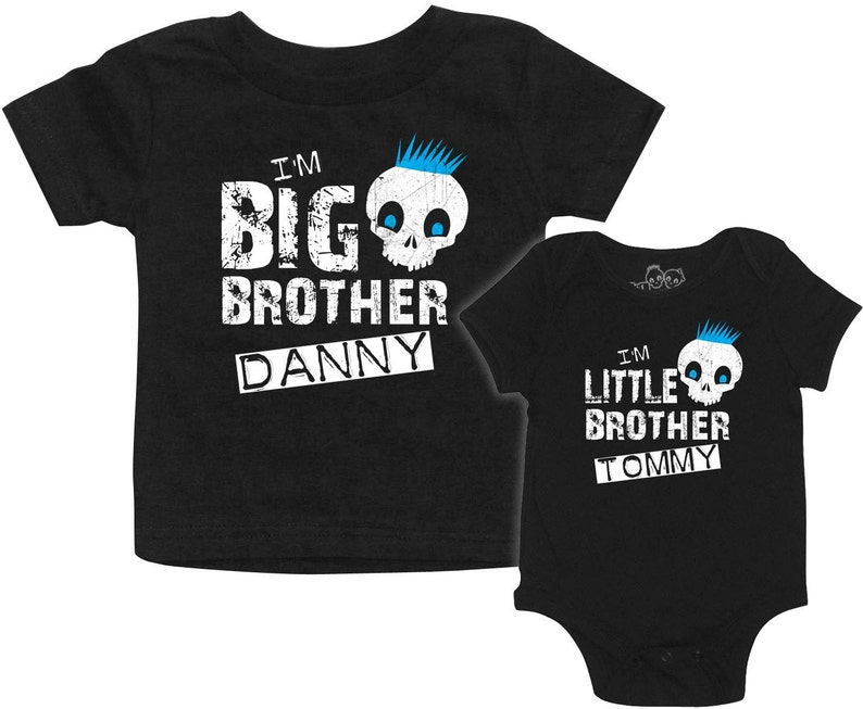 cae4fcd33 Personalized matching Boys Skull Big Brother t-shirt Little | Etsy