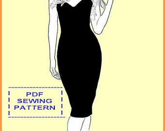 f1adbeaa77 PDF Sewing Pattern- Pencil Dress with Straps-Summer Dress -European Sizes  ,36,38,40,42- US Sizes 6,8,10,12