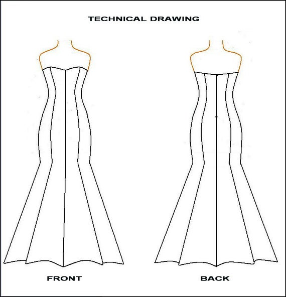 PDF Sewing Pattern Strapless Mermaid Dress From Woven Etsy Classy Mermaid Dress Pattern