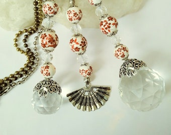 Ceramic fan pull etsy light pull ceiling fan pulls red white and crystal ball chain pulls individual or set of pull chains ceramic beaded pulls lighting aloadofball Choice Image