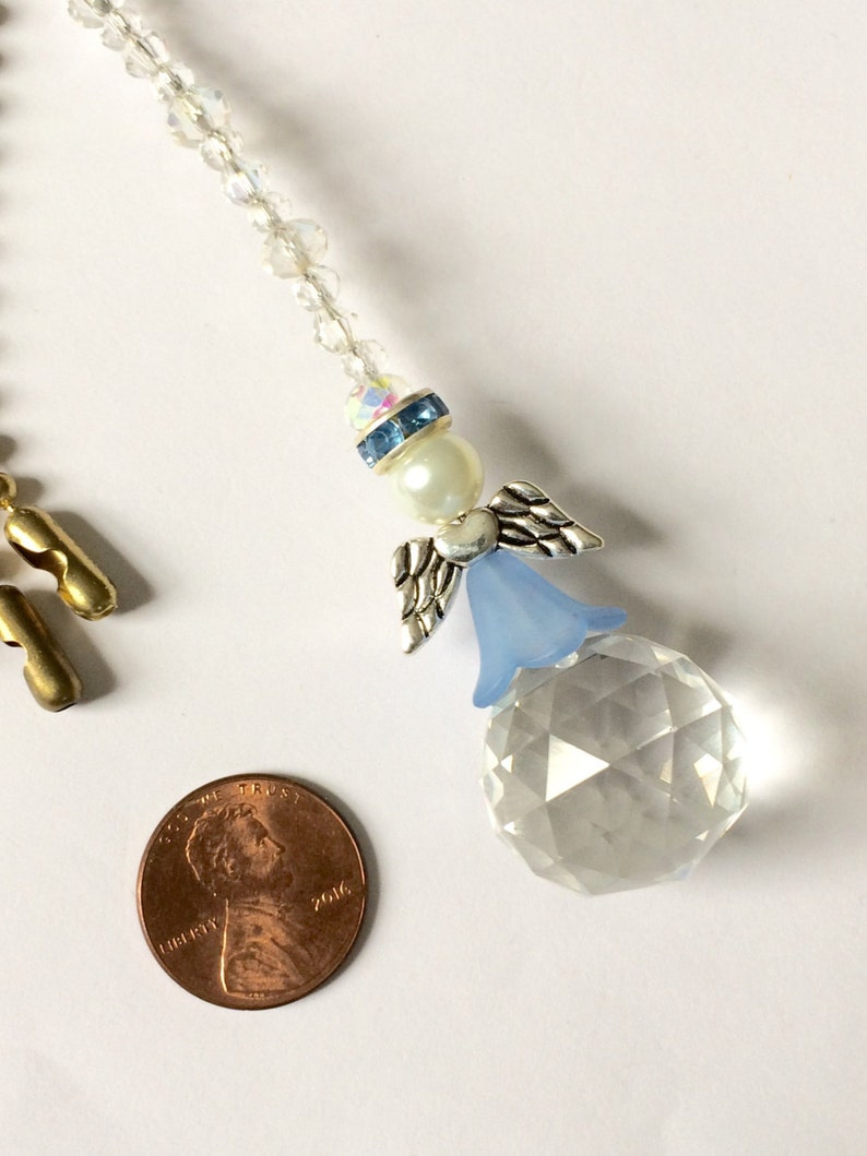 angel light pull Sun catcher or rear view mirror ornament Decorative blue ball chain pull. Other colors available ceiling fan pull