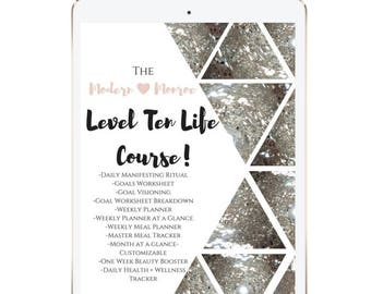Level Ten Life Course, Planner, Habit Tracker, Goal Planner, Become a Modern Spiritual Warrior! A4 and Letter Size download. Free Updates!