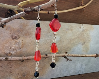 Red & Black Glass Earrings//Sterling Silver