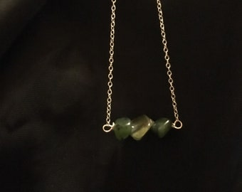 Green Gemstone Necklace//Sterling Silver