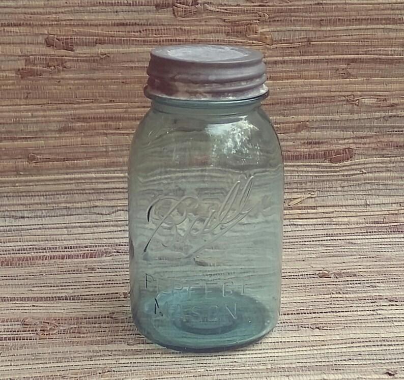 Vintage Blue Quart Size Ball Perfect Mason Jar 1910-1923 With Vintage Zinc  Lid