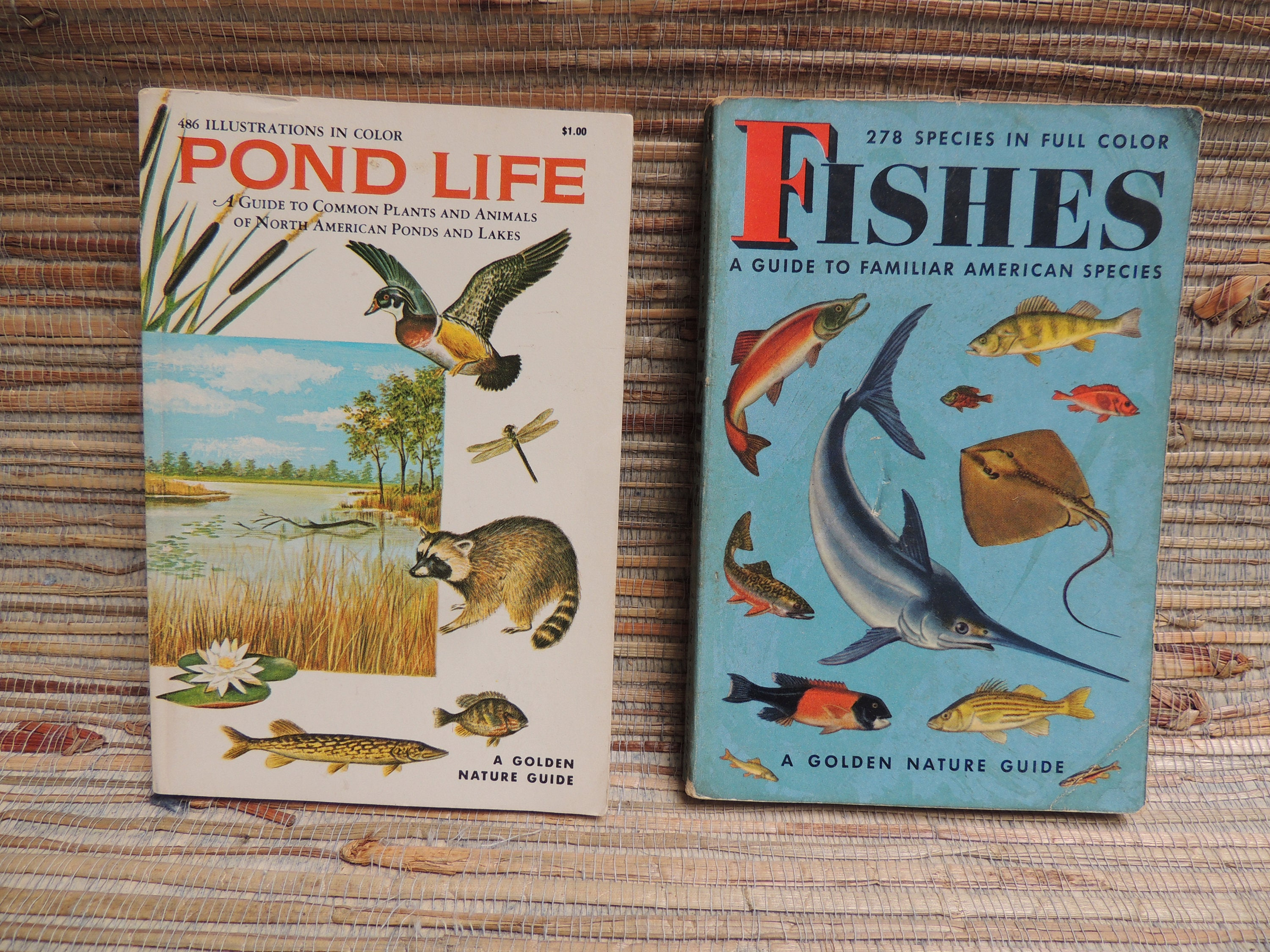 Two Vintage Golden Nature Guide Books Fishes And Pond Life
